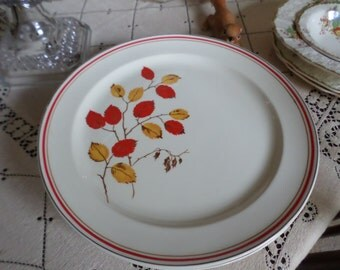 Very Rare TST-Taylor Smith Taylor Autumn-Red/Yellow Leaves/Platinum/Red Trim-Dinner Plates