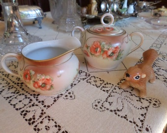 Antique Austria-HUB-Red Poppy Flower/Flowers-Green/Brown Gold Trim-Hand Painted Sugar Bowl & Creamer Set
