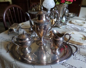 Lovely Wm Rogers Silverplate EPNS-Guild-Tea/Coffee Service-Tray/Pot/Creamer/Sugar Bowl/Lids