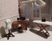 Set sewing room, miniature dollhouse scale 1/12