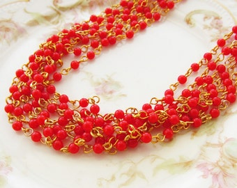 Vintage Cherry Red Beaded Rosary Chain 4mm Round Plastic Beads Brass Links – 2 Feet