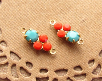 Petite Turquoise and Coral Swarovski Rhinestones Round Stones in Brass 2 ring Connector Settings - 2