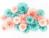 15 Coral and Teal Mixed Wooden Flowers, Wedding Decorations, Wedding Flowers, Wedding Table Decor,