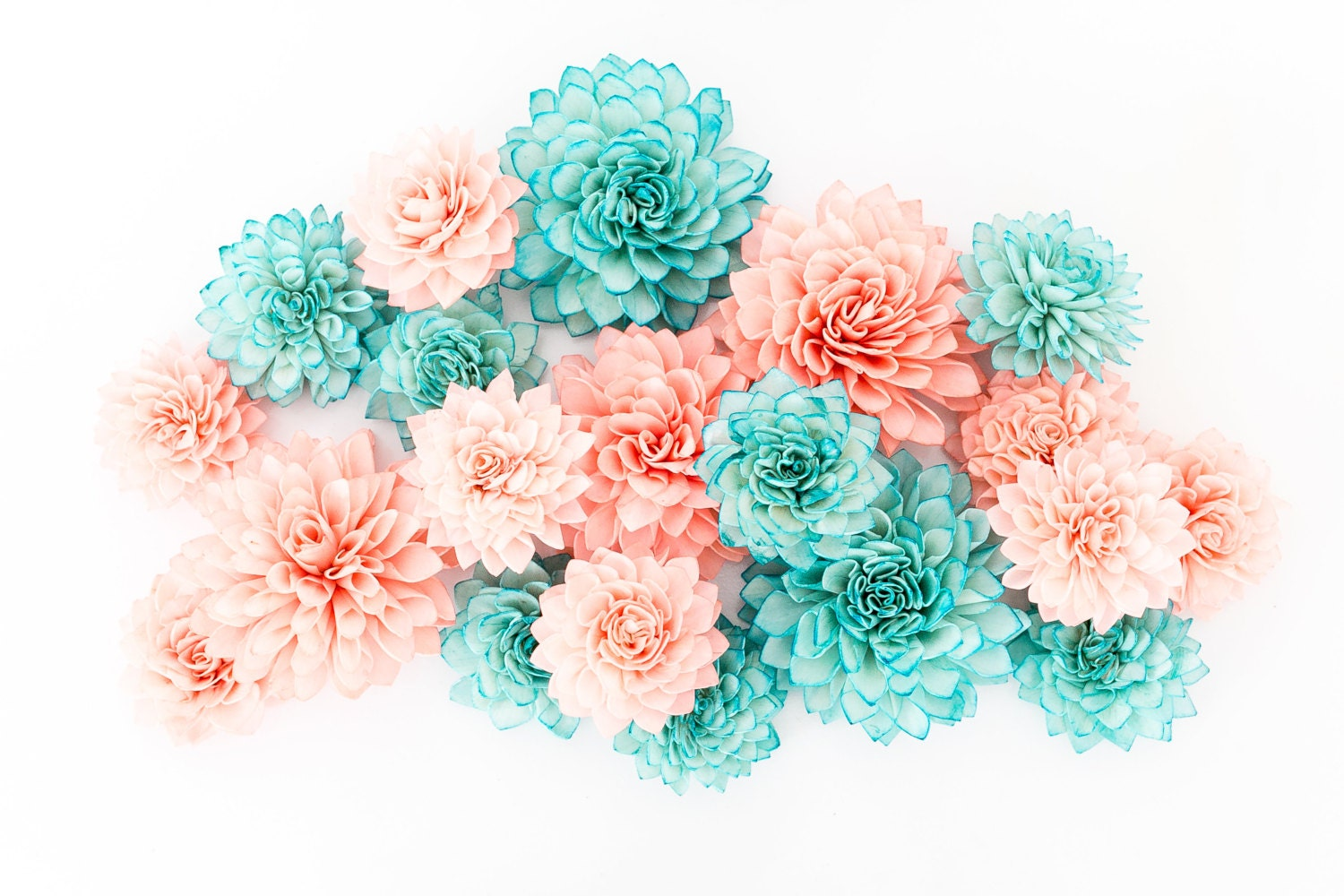 15 Coral and Teal Mixed Wooden Flowers Wedding Decorations
