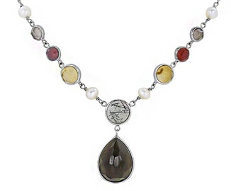 Sterling Silver Lavalier Multi-Stone Necklace with Smoky Quartz, Citrine, Carnelian,Tourmaline and Pearls. Made by Silver Artisans.