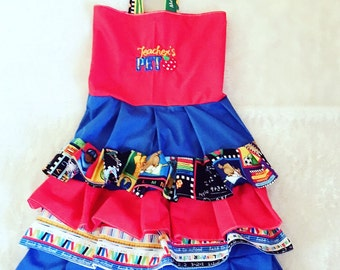 Back to school,ruffle Dress size NB 3  6 9 12 24 months, size 2 3 4 5
