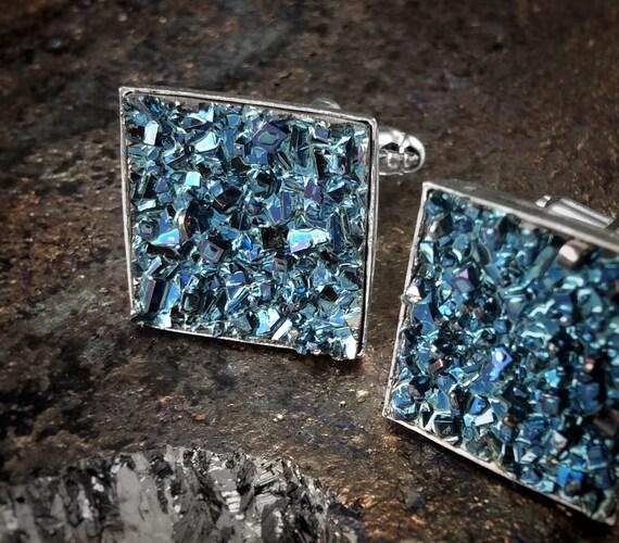 Bismuth Crystal Cuff Links - CUSTOM ORDER - Iridescent Bismuth Crystal - Bismuth Jewelry for Dad - Fathers Day - Gift for Groom - Groomsmen