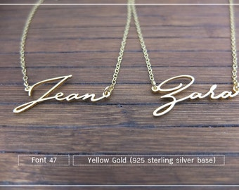 20% OFF // Font 47 // Custom name necklace - Personalized name necklace - Sterling silver- yellow gold- Bridesmaid , mother, Christmas gift