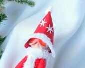 Red Sleigh Riding Hat with Snowflakes for Christmas Elf
