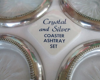 Eales Sheffield 1779 Vintage Silverplate Coasters/Ashtrays  SET of Four Brand New IOB and packaging