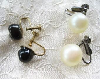 Vintage Boho Screwback Black white  earrings Very good Two pairs included