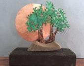 Sokan Style (parent & child) Copper Bonsai Sculpture - small original