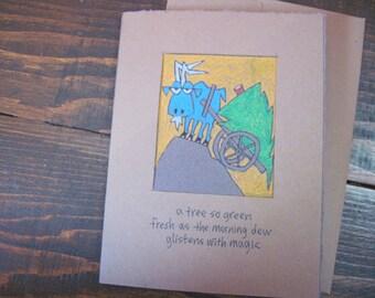 A Tree So Green -- ORIGINAL, holiday card, blank inside, haiku, suminagashi (#HLDY006) (#1)