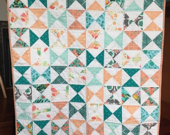 Modern Hourglass Baby Toddler Girl Patchwork Quilt  Aqua  Peach White Floral