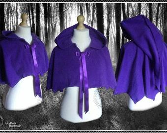 Hooded Capelet, Shoulder Wrap, Mantle, Polar Fleece, Medieval, Renaissance, Festival, Gothic