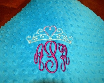 Double Minky Baby Blanket Embroidered Tiara and Name Medium Teal, Light Teal