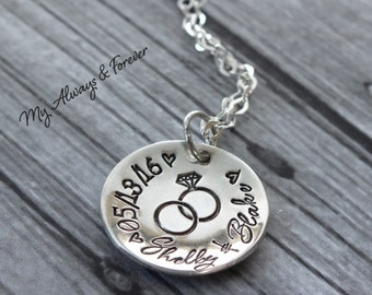 Personalized Anniversary Necklace - Hand Stamped Jewelry - Sterling Silver Necklace- My Anniversary - Remember Date