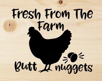 Fresh From The Farm Funny Butt Nuggets SVG Cutting File - Stencil Design - Cut File