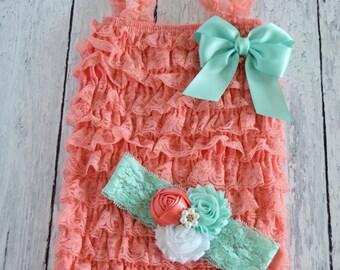 Cake Smash Outfit Girl, Baby Girl 1st Birthday Outfit, Baby Girl Romper, Coral Lace Romper, Birthday Romper, Romper, Cake Smash Outfit