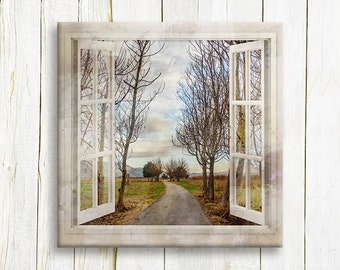 Window view art print on canvas  - Autumn trees in the park  - housewarming gift