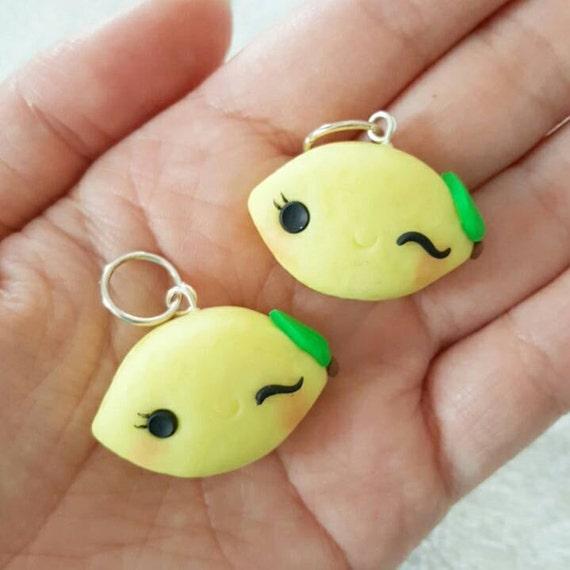 Lemon Charm, Lemon Polymer Clay Pendant, Food, Miniature Food Charm, DS Charm, polymer clay, clay pendant, Kawaii, Chibi, Clay Charm
