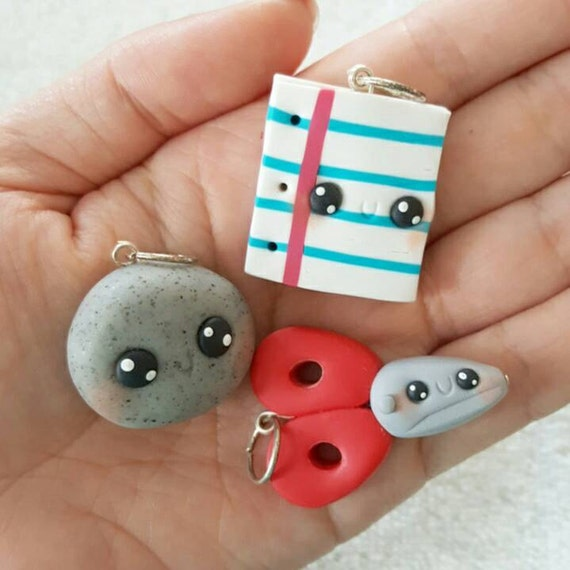 BFF Necklace Charms, Rock, Paper, Scissors Charm, 3 BFF, Polymer Clay Pendant, BFF, polymer clay, clay pendant, Kawaii, Chibi, Clay Charm