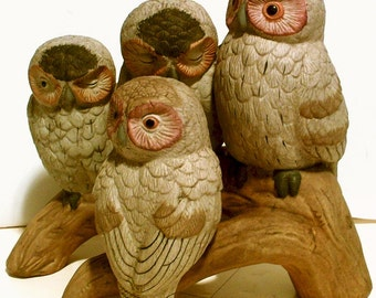 Family of Four Ceramic Owls Seated on Branch Log, Vintage