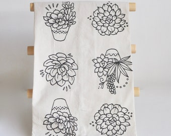 Succulents Tea Towel, Rosette Echeveria, Boho Chic Tea Towel, Black and White Flour Sack Tea Towel