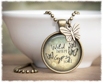 Wild Heart Gypsy Soul • Bohemian Necklace • Inspirational Jewelry • Boho Pendant