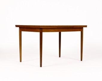 Danish Modern / Mid Century Teak Dining Table — Rectangular Draw Leaf — Modest Scale