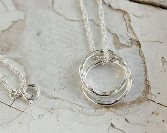 Interlocking Circles Necklace. Infinity Necklace. Sterling Silver Necklace, Two Circles, Hammered Texture, Handmade Gift For Mum UK FREEPOST