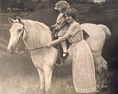 1914 Edwardian Photo of Child and Horse Edwardian Horse Photo Classic Antique Wooden Framed Photograph Print Child on Horse Dated 1914