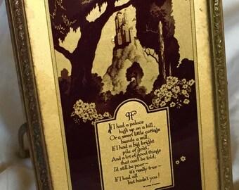 Emma Koehler Poem, Antique Framed Poem Vintage Framed Emma E Koehler Poetry with Beveled Mirror on Flip Side