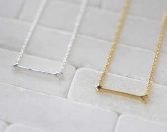 Arrow Necklace - Gold Arrow Necklace - Sterling Silver Arrow Necklace - Arrow Jewelry-  Sideways Arrow Necklace - Gift For Her - Arrows