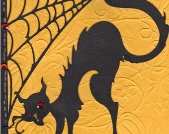 Black cat handmade Halloween card