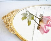 Brass Vintage Tray with Mirror Matson Ormolu Hollywood Regency Ornate Tray With Handles For Vanity Wedding Gift Holiday Decor