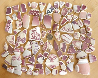 99 Pieces SEA  POTTERY RED and White and Pink Shards from Beaches in Scotland Free Ship