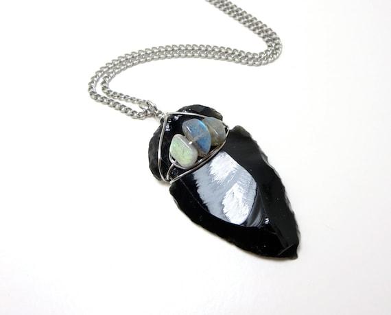 Large Obsidian Arrowhead Amp Labradorite Protection Amulet