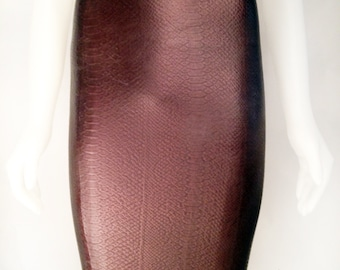 Snake Texture Latex Rubber Pencil Skirt by VEX