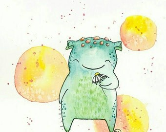 Monster Watercolor Print/ daisy flower floral portrait custom illustration drawing by Eliza George