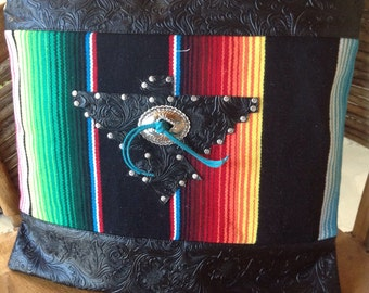 Western serape thinderbird and black faux leather pillow cover