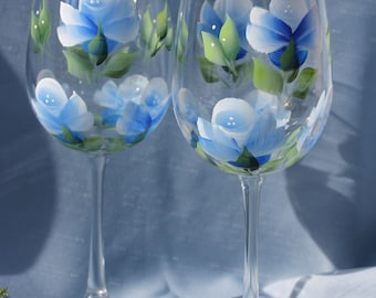 Hand Painted Wine Glasses (Set of 2)- Soft Blue Roses