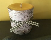 """beeswax pillar candle 3-1/2"""" tall wrapped in white Birchbark ( White Beeswax )"""