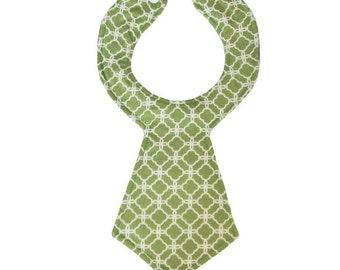 Green Quatrefoil Baby Necktie Bib