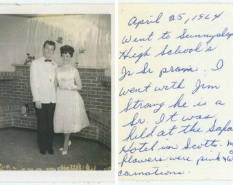 Vintage Polaroid Snapshot Photo: Prom Date, 1964 (610507)