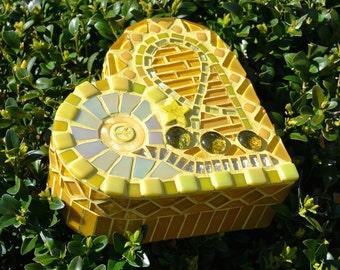 Yellow glass mosaic heart shaped box