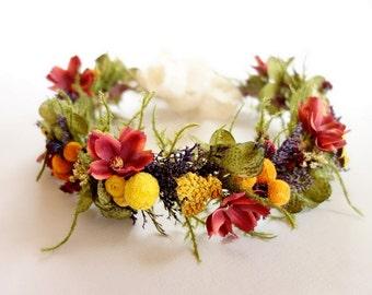 Fall Head Wreath, Fall Bridal Crown, Floral Crown, Dried Flower Crown, October Wedding, Fall Flower Crown, Photo Shoot, ABUNDANCE