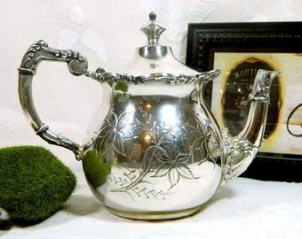 Antique Silver Metal Mfg Co Silverplate Tea Pot