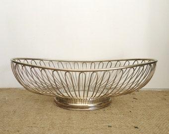Silverplate wire basket, mid century modern, retro, minimalist urban loft style, home kitchen decor, industrial style