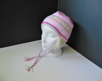 OOAK Ear Flap Bomber Pink Pastel Hand Knit Hat Baby 3+ months Toddler Child